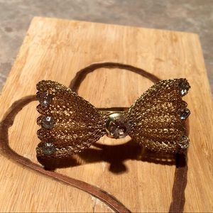 Gold-Tone Large Crystal Bow Adjustable Ring